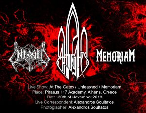 At The Gates, Unleashed, Memoriam (Athens, Greece – 30/10/2018)
