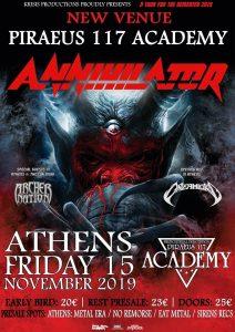 Αλλαγή χώρου για το live των ANNIHILATOR στην Αθήνα!