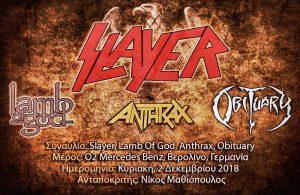 Slayer, Lamb Of God, Anthrax, Obituary (Βερολίνο, Γερμανία – 02/12/18)